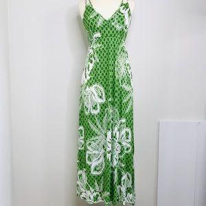 Old Navy Green Maxi Print Maxi Dress Size Small